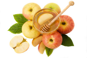 isolated honey with apple for Rosh Hashanah
